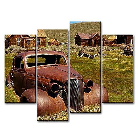 Braun 4Stück Wand Kunst Bild Old Junk Auto und Ferienhäuser Bilder Prints auf Leinwand Auto die Decor Öl für Home Moderne Dekoration Print