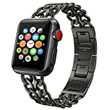 PUGO TOP Armband for Apple Watch 38mm 40mm 42mm 44mm, Solides Edelstahl Cowboy Art Gliederarmband...
