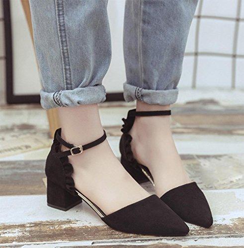 Frühling und Sommer Schuhe mit hohen Absätzen zeigten rau mit einem einzigen Wort Schnalle Schuhe hohle Sandalen Schwarz