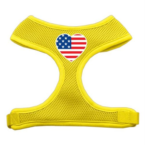 Mirage Herz Flagge USA Screen Print weichem Mesh Geschirr (Herz-dog Harness)