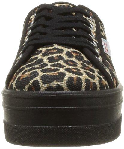 Victoria - Blucher Leopardo Plataforma, Sneaker Donna Nero (Noir (Negro))