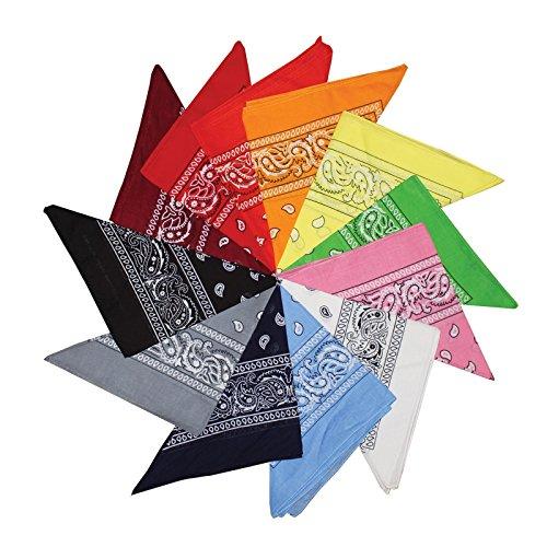 12er Pack von Verschiedenen Paisley Bandana Schals Kopftücher Multifunktionstuch von Kurtzy - Bandanas für Kopftuch und Halstuch, Haustiere, Haar und Taschen Zubehör, Verkleidung und vieles mehr - Große Baumwollschals - (20 Superheld Kostüme Top)