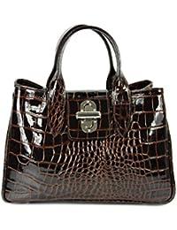 Top ® belli sac à main classique en cuir véritable marron foncé verni crocodile 36 x 25 x 18 cm (l x h x p)