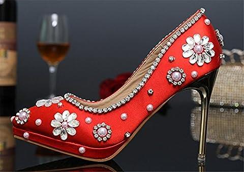GZD Femmes Fleurs Perle Rouge Court Chaussures Glitter Magnifique Mariage Nuptiale SoiréE Party Crystal High Heels , 37 [import pu] , 10cm