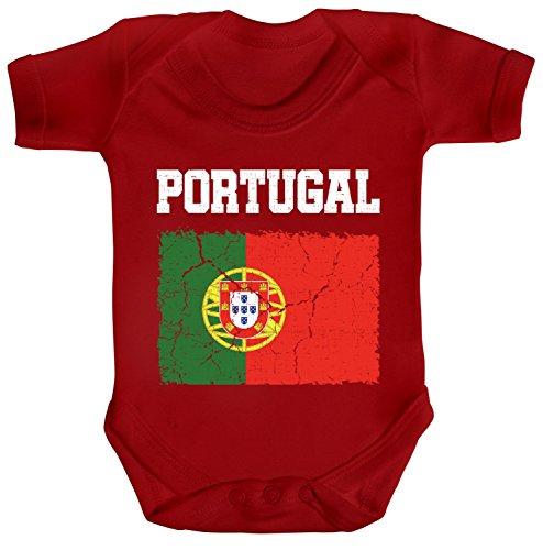 Fußball WM Fanfest Gruppen Trikot Fan Strampler Bio Baumwoll Baby Body kurzarm Jungen Mädchen Wappen Portugal, Größe: 0-3 Monate,Red