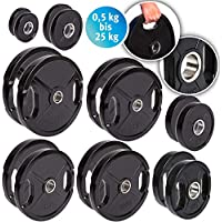 Discos para pesas de hierro fundido de C.P. Sports, 1 par o 2 pares de discos para pesas de 30 mm; 0,5 kg, 1 kg, 1,25 kg, 2,5 kg, 5 kg, 10 kg, ...