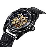 TREEWETO Herren Uhren Klassisch Automatik Mechanische Armbanduhr Skelett Uhr Milanese Armband Business Accessories Uhr
