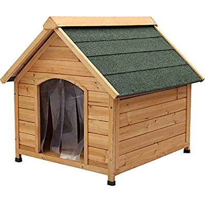The Fellie Dog House, A Roof Outdoor Dog House Wooden Pet House Puppy House with PVC Door WarmieHomy(96 * 112 * 105cm) from The Fellie