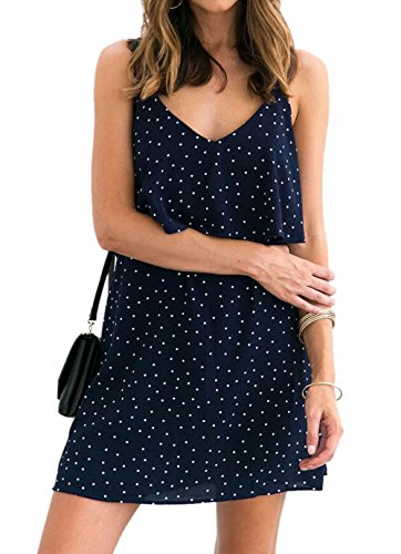DINGANG Damen Kleid Blau