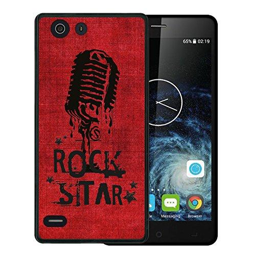 WoowCase Elephone S2 Hülle, Handyhülle Silikon für [ Elephone S2 ] Rock Star Mikrofon Handytasche Handy Cover Case Schutzhülle Flexible TPU - Schwarz
