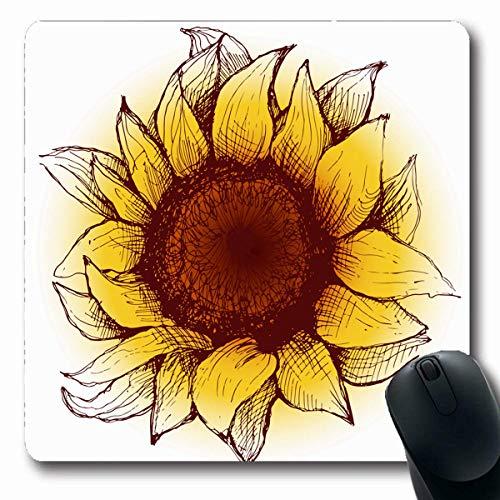 Sonnenblume 20 Samen (Luancrop Mousepads Kunst-orange Samen-Sonnenblume-Blumen-Herz-Blumenblätter Natur-Malerei-gelber Weinlese-blühender Blüten-Entwurf rutschfeste Spiel-Mausunterlage Gummi-längliche Matte)