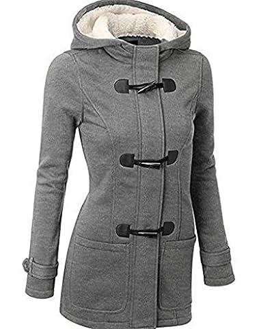 Newbestyle Femme Manteaux Veste Capuche Gilet Bouton épais Blouson Printemps et Automne Veste (Large, gris clair)