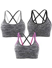 0126fa0eda2ad Srizgo Lot DE 1 3 Soutien-Gorge de Sport avec Dos Ruban Croisé Brassière  Sport Femme pour Yoga Jogging…
