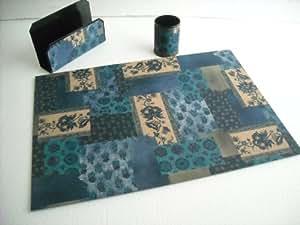 Set de bureau : Pot à crayons et porte courrier métal sous-main carton les 3 pièces imprimées.
