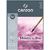 """Canson 30 x 40 cm 300 gsm """"Moulin Du Roy"""" Hot Pressed Short Side Glued Pad Watercolour Paper - Natural White (Pack of 12 Sheets)"""