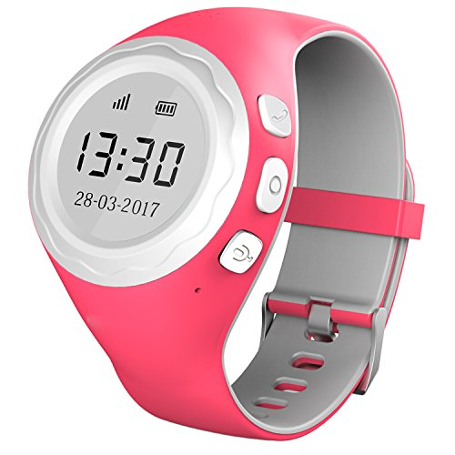 Pingonaut Kidswatch - Kinderuhr mit GPS & Telefonfunktion, Smartwatch für Kinder mit GPS-Tracker-App und SOS-Funktion, Softwareentwicklung & Hosting in Deutschland, SIM-Karte Inclusive, Himbeer-Pink