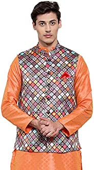 NEUDIS by Dhrohar Printed Satin Nehru Jacket/Waistcoat For Men - Multi