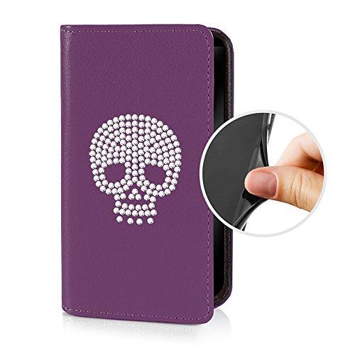eSPee SZ3cS055 Sony Xperia Z3 compact Schutzhülle Wallet Flip Case Violett Lila mit Strass Skull Totenkopf Silikon Bumper und Magnetverschluß für Sony Xperia Z3 compact