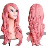 58cm Parrucca Rosa Donna Lunga Ondulata Fashion Capelli Ricci Mossi Effetto Naturale Posticci Costume Women Wig Vari Colori