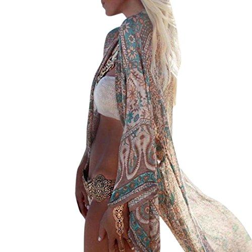 Streifen-kimono Top (Damen Blumendruck Chiffon Kimono Cardigan Top Lose Schal Bikini Cover Up Strandponcho Vintage Vertuschen Bluse Elegant (S, Grün))
