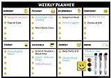 KnicKnackNook - Planificador semanal magnético para frigorífico, agenda de comidas, lista de la compra, lista de tareas para adultos y niños, fácil de escribir y limpiar, resistente a las manchas, imán fuerte – incluye 3 rotuladores de color de borrado en seco, borrador Emoji y 3 imanes