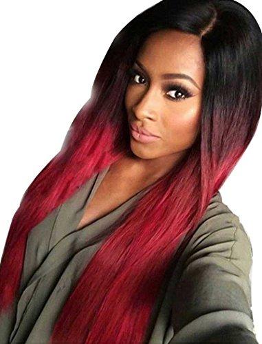 Silky tsnomore parrucca da donna, in materiale sintetico, lunga, colore: nero sfumato rosso