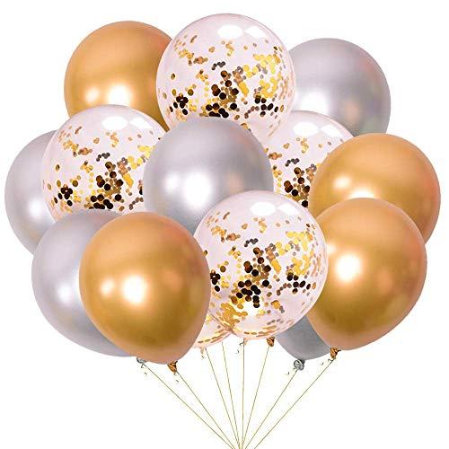tallic 15 Stück 12 Inch Partyballons Helium Luftballons Aufblasbare Luftballons mit Konfetti Luftballon für Jugendweihe Mädchen Junge Geburtstag JGA Hen Party - Gold und Silber ()