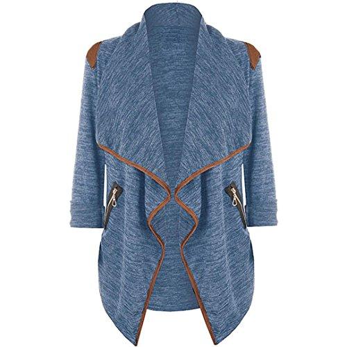 Kavitoz Damen Lightweight Asymmetrisch Offene Mantel Strickjacke Cardigan Strickmantel mit Tasche (L, Blau)