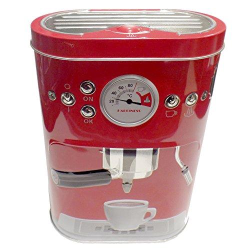 Kaffeedose Blechdose Vorratsdose oval mit Scharnierdeckel, Blech, Motiv: Espressomaschine, ca. 13.5...