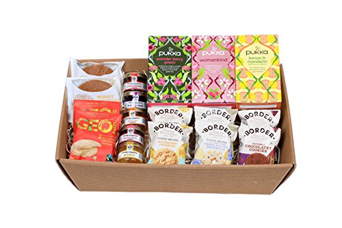 Pukka Herbal Organic Tea With Frank Cooper�s �Oxford� Jam / Honey Portions, Biona Honey Waffles, Geobakes Shortbread And Border Biscuits - Presented In A Hamper Tray - Gift Ideas for Christmas, Birthday, Easter, Anniversary, Wedding and Corporate