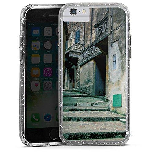 Apple iPhone X Bumper Hülle Bumper Case Glitzer Hülle Gasse Gebaeude Treppe Bumper Case Glitzer silber