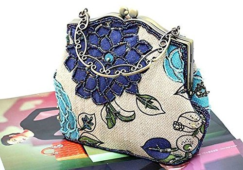 Urban GoCo Donna Vintage Perline Portafogli Frizione Tracolla Borsa Sera Borsetta per Nozze Prom Banchetto #A Blu