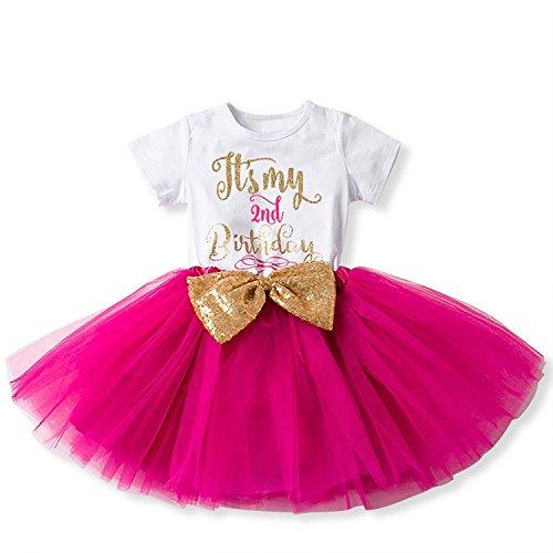 Mein 1. / 2. Geburtstags Kleid Sequin Tütü Prinzessin Glitzernde Bowknot Partykleid Neugeborene Säuglings Kleinkind Fotoshooting Outfits Kostüm Heißes Rosa (1 2 Jahre Halloween-kostüm)