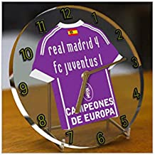 Campeones de Europa UEFA 2016/2017 Real Madrid - Reloj de mesa conmemorativo de acrílico con camiseta incorporada