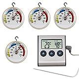 Lantelme 7184 Gastronomie Bedarf mit Digital Einstichthermometer und 4 St. Analog Kühlschrankthermometer im Set