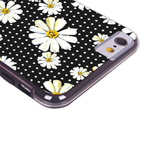 iPhone 6 6S Fall, Hülle, Case True Color® Cute Gänseblümchen auf Polka Dots Slim Hybrid Hard Back + weich TPU Bumper Schutz Langlebig [True Schützen Serie] + kostenlosem Stylus und Displayschutzfolie schwarz