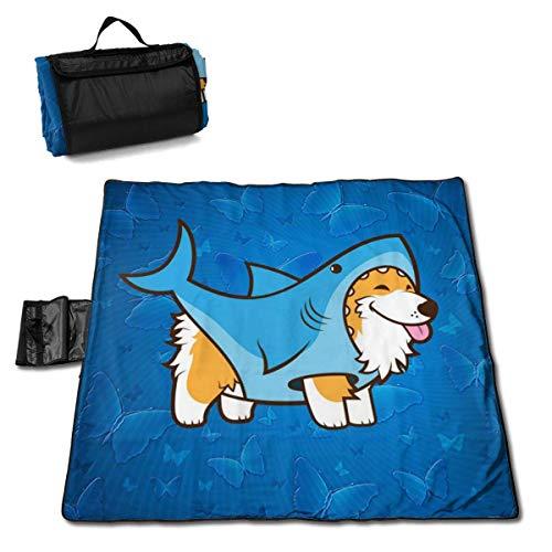 Corgi in A Sharks Blue Folding Portable Picnic Blanket 57