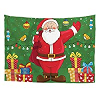 Designs4U FOR U DESIGNS Christmas Tapestry Wall Hanging for Bedroom Living Room Dorm,Santa Claus and Gift Handicrafts Wall Hanging Bohemian Hippie Tapestry for Bedroom Living Room,Green,S