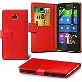 (Red) Nokia X Custom Designed Stilvolle Accessoires zur Auswahl Schutzmaßnahmen Kunst Credit / Debit-Karten-Leder-Buch-Art Wallet Case Hülle, Retractable Touch Screen Stylus Pen & LCD-Display Schutzfolie von Hülle Spyrox