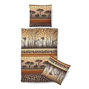 Biberna Feinbiber Komfort Bettwäsche Afrika Savanne 2159 551 135x200 +  80x80cm