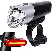 Pioneeryao Luces Bicicletas Luces Bicicleta Delantera y Trasera Evita Deslumbramiento USB Recargable Impermeable 3+6 Modos de Luz 3.7v/2000 mAh Lente de PMMA