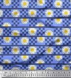Soimoi Blau Viskose Chiffon Stoff Streifen, Square & Daisy