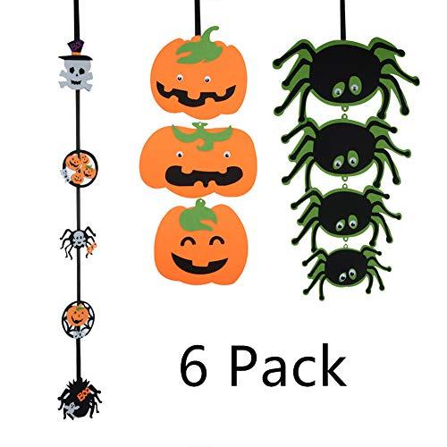 XHONG 6 Stück Halloween-Hängeornament, Halloween-Hängeornament, Kürbis-Spinnen-Geist-Wimpelkette, Banner aus Filz für Halloween, Party-Dekoration Geister Server