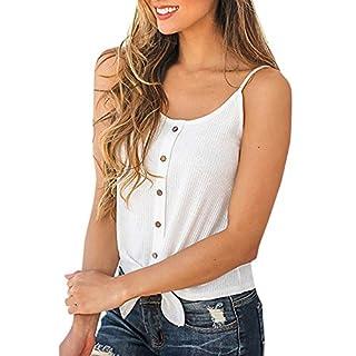 QingJiu Damen Frauen Button Sleeveless Solide Top Weste Tank Shirt Bluse Unterhemd Tops