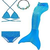 UrbanDesign Traje De Baño Disfraz Cola De Sirena Niña con Bikini para Nadar, 7-8 años, Diamante Azul