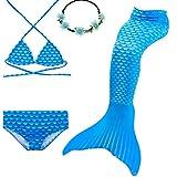 UrbanDesign Traje De Baño Disfraz Cola De Sirena Niña con Bikini para Nadar, 11-12 años, Diamante Azul