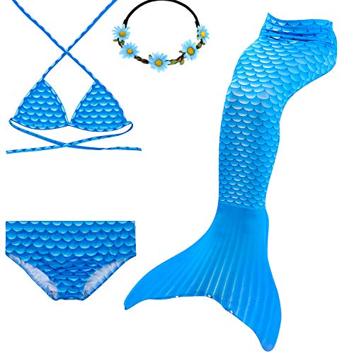 Urbandesign coda di sirena per nuotare costumi da bagno bikini 4pcs per ragazze (7-8 anni, diamante blu)