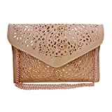 AiSi Damen fashion vintage elegant Leder hohl Blumen Clutch Messenger Bag Abendtasche Handtasche Schulterbeutel Umhängetaschen für Evening Party Hochzeit Theater Kino Beige