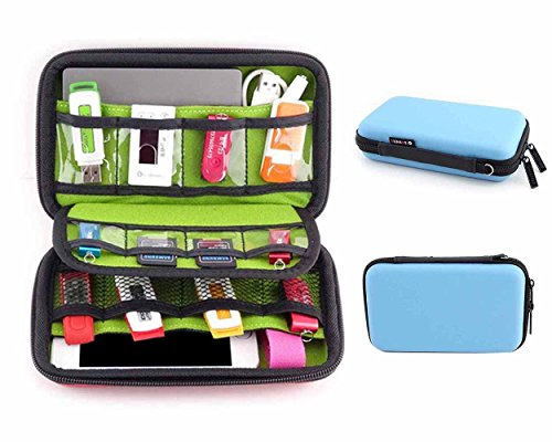 Price comparison product image Pawaca Travel Electronics Accessories Organizer - Universal Multi-function Portable Shockproof Waterproof Storage Bag for Cable,  USB Flash Drive,  External Hard Drive,  Memory Card,  Earphone and More