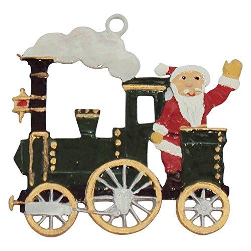 Zinngeschenke Nikolaus in der Lokomotive von Hand bemalt aus Zinn (HxB) 4,5 x 4,5 cm Christbaumschmuck
